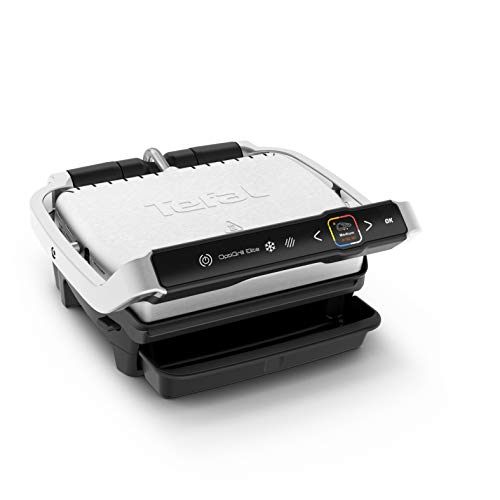 Tefal OptiGrill Elite GC750D 2000 - Barbacoa de contacto (acero inoxidable cepillado), color negro