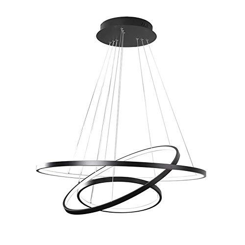 Le cercle en aluminium moderne blanc ou noir de LED anneaux accrochant des lumières de lustre de suspension pour le lustre acrylique de salon,Black,CoolWhite