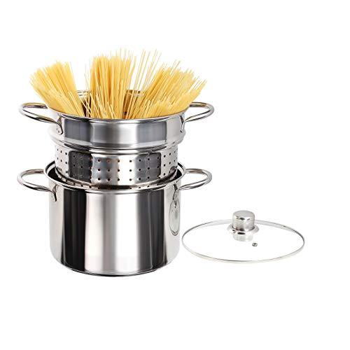 Casserole à spaghettis en acier inoxydable - À induction - Avec passoire - 3 parties - Cuiseur à asperges - 6 litres - Couvercle en verre