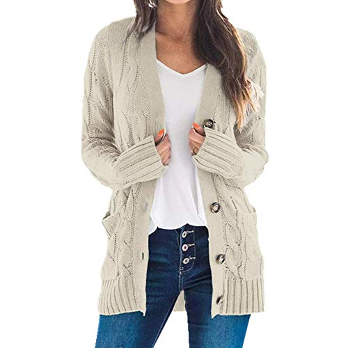 N\P Suéteres de mujer con bolsillo de manga larga suelta, abrigo casual