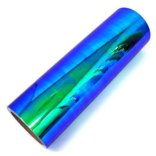 (20,60 €/m²) 1 Meter Flip Flop Hologramm Auto Folie Effektfolie Chamäleon Chrom Carwrapping Plottfolie Bastelfolie DIY Basteln (FF4 Blau/Grün, 63cm)