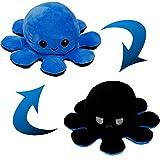 Pulpo Reversible Pulpo Peluche Peluche Pulpo Reversible Lindo Pulpo Juguetes de Muñeca de Pulpo de Doble Cara Muñeco de Peluche de Pulpo Reversible Regalos de Juguetes Creativos (Azul + Negro)