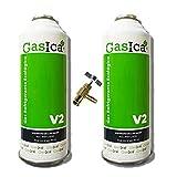 REPORSHOP - 2 Botellas Gas Ecologico Gasica V2 255Gr + Valvula Sustituto R22, R32, R407C, R410A Freeze Organico
