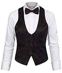 Steampunk Vintage Black Jacquard Button Down Vest Jacket Slim Fit Work Waistcoat Black S #2