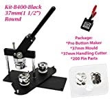 ChiButtons (KIT) 37mm (1.5') Pro Badge Machine Button Maker-B400 + Mould + 200 Parts + Handling Cutter Metric System (Black-New)