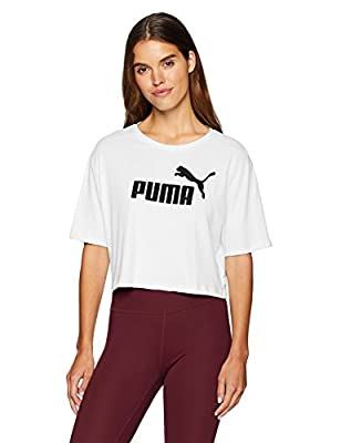 PUMA Women's Essential + Cropped Logo TEE, White, S