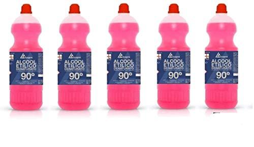 Alcool etilico denaturato 90° - 5 confezioni da 1 litro