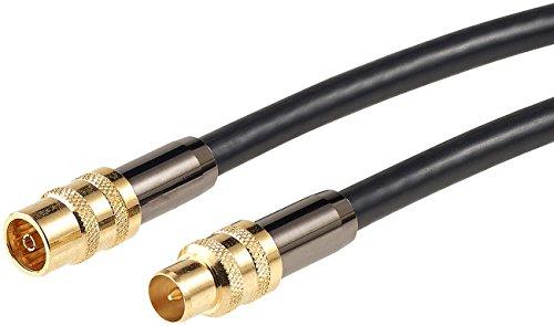 auvisio Koaxialkabel: Premium-HDTV-Antennenkabel, Koaxial-Stecker, 10 m, schwarz, 105 dB (doppelt geschirmtes Antennenkabel)