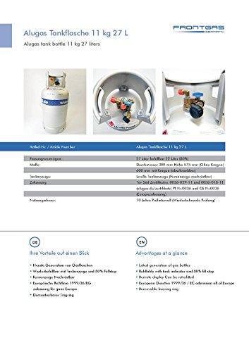 Alugas Campingflasche LPG Autogas Wiederbefüllbar Tüv Zertifiziert/Europa Tankadapter Set