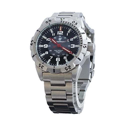 Smith & Wesson Emissary Swiss Tritium H3 Watch for Men with Tactical Stainless-Steel Band, Waterproof Durable Military, Tactical Tough Watch with Precision Quartz Japanese Movement