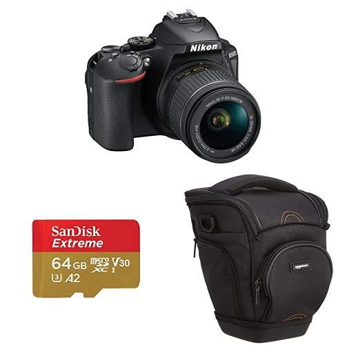 Nikon d5600 Cámara réflex Digital + SanDisk Extreme - Tarjeta de Memoria microSDXC de 64GB con Adaptador SD, A2, hasta 160MB s + Amazon Basics - Funda para cámara de Fotos réflex