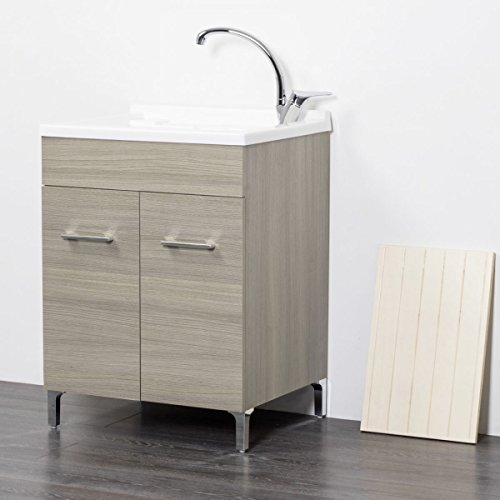 Mobile lavatoio in Legno 60x50 50x50 45x50 cm ASSE lavapanni pilozza Vasca in Resina Lavanderia (50x50 cm, Rovere Grigio)