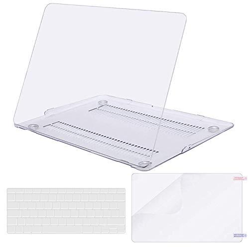MOSISO Hülle Kompatibel mit MacBook Air 13 Zoll (A1369 / A1466, 2010-2017 Version), Ultradünne Plastik Hartschale Hülle mit Passender Farbe Tastaturschutz (EU-Layout) mit Displayschutz, Klar/Kristall