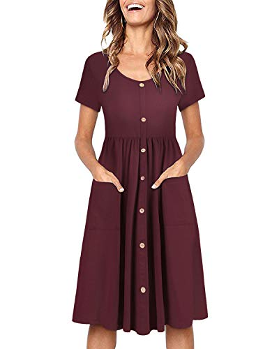 OUGES Women's Short Sleeve V Neck Button Down Midi Skater Dress with Pockets(Red395,M)