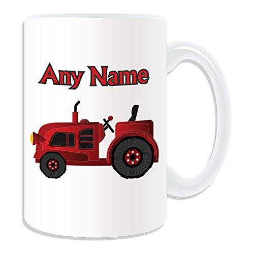 UNIGIFT gepersonaliseerd geschenk - grote rode trekker mok (transport ontwerp thema, wit) - elke naam/bericht op uw unieke - bestuurder zwaar voertuig auto vrachtwagen boerderij HGV boer
