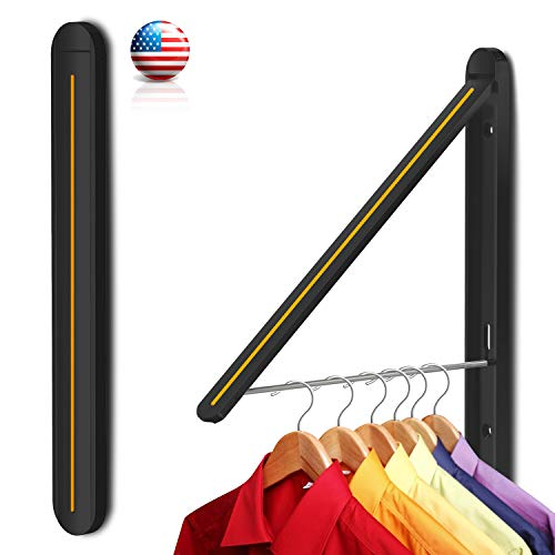 Retractable Clothes Drying Racks Aviation Aluminum Wall Mounted Folding Laundry Clothes Rackfor Laundry Room/Living Room/Bathroom/Bedroom/BalconyLossless InstallationArtwork Black