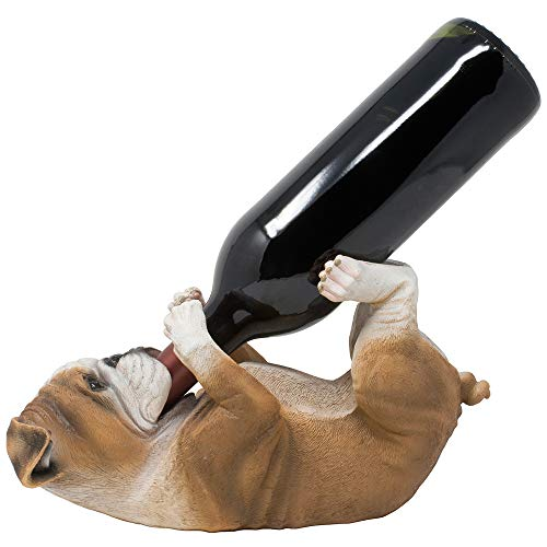 Thirsty English Bulldog Wine Bottle Holder Statue Display Stand Decorative Centerpiece for Bar or Kitchen Counter D