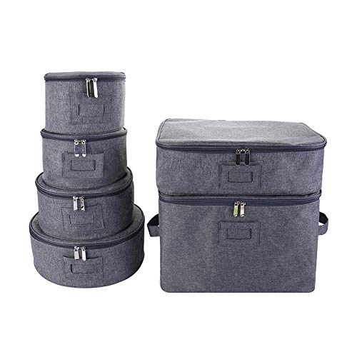 JoaSinc Dinnerware Storage Set, China Storage Set Mugs & Cups Storage Hard Shelled & Stackable Dinnerware Containers with Felt Dividers for Dishes Salad Plates Protection & Transporting
