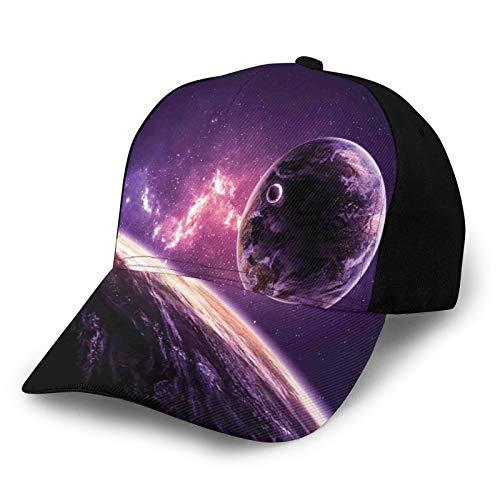 FULIYA Gorra de béisbol unisex con borde curvo planetas sobre nebulosa morada celestial cometa rayos mágicos universo astronomía imagen de poliéster tela de sarga sombrero de papá gorra de béisbol