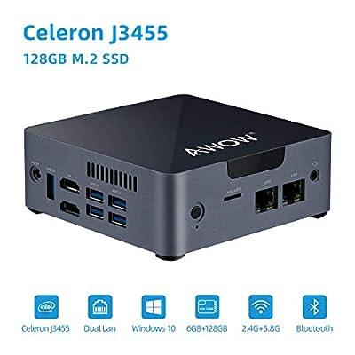 Mini PC Intel Celeron J3455 6GB DDR4, 128 GB SATA SSD, Mini Desktop Computer, AWOW AK34 Micro PC, Windows 10, Quad Core, Dual Gigabit Ethernet NIC, Dual HDMI, 5X USB3.0, 4K UHD, Bluetooth