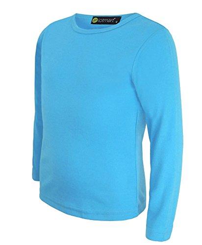 LOTMART Lotmart Kinder-T-Shirt, langärmlig, unifarben, für Mädchen und Jungs, Team-Shirt Gr. 9-10 Jahre, türkis
