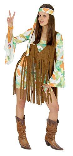 Foxxeo 40137 |70er Jahre Kostüm mit Fransen Weste Hippie Damen Kleid Damenkostüm , Größe:XL