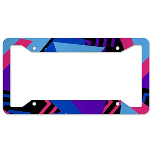 WOSITON Triangle Pattern License Plate Frame 4 Pieces Design License Plate Frame With 4Holes Fite For Garage white 16x31cm