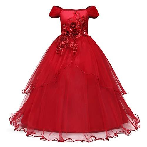 NNJXD Mädchen Applique Abschlussball-Kleider weg von der Schulter Hochzeit Geburtstag Partei Prinzessin lange Kleider Größe (140) 8-9 Jahre Rot