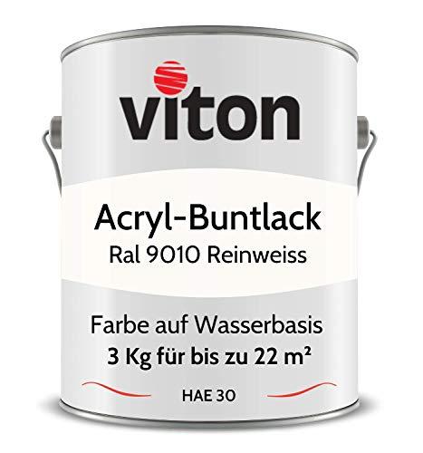 Buntlack von Viton - 3 kg Weiss - Seidenmatt - Wetterfest für Außen und Innen - 2in1 Grundierung & Lack - HAE 30 - Nachhaltige Farbe auf Wasserbasis für Holz, Metall & Stein - RAL 9010 Reinweiss