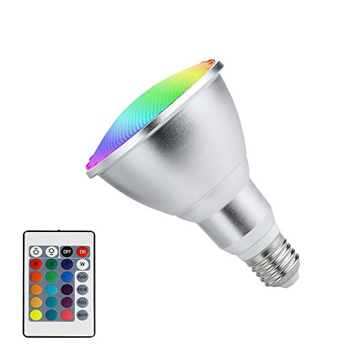 10W PAR30 RGB LED Spotlight Outdoor, E27/E26 Color Changing Light Bulb, Waterproof Flood Light with Remote for Holiday Home Party Decor