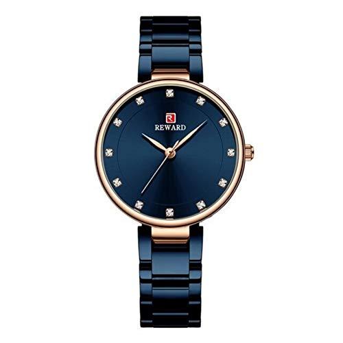 JIADUOBAO Reloj de pulsera de cuarzo para mujer con correa de acero inoxidable, reloj de pulsera para mujer y mujer, regalo para mujer (color azul en caja)