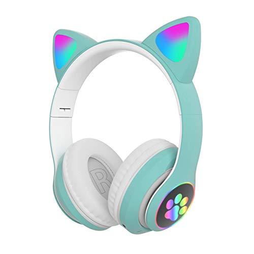 Audífonos inalámbricos para juegos, lindos auriculares con luces LED, cancelación de ruido, auriculares estéreo para juegos con Bluetooth 5.0 para niños y adultos