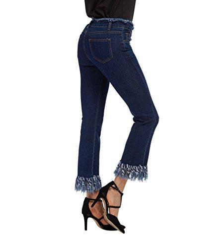 Mena UK Vintage Alta Cintura Elástico Bell Bottom Irregular Bordes Borlas Jeans Mujer Flared Denim 3/4 Pantalones (Color : Azul Oscuro, Tamaño : XL)