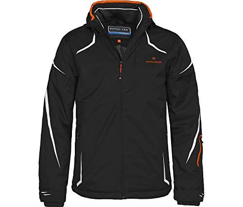 Bergson Herren Skijacke Valley, Black/Persimmon orange [9403], 52 - Herren