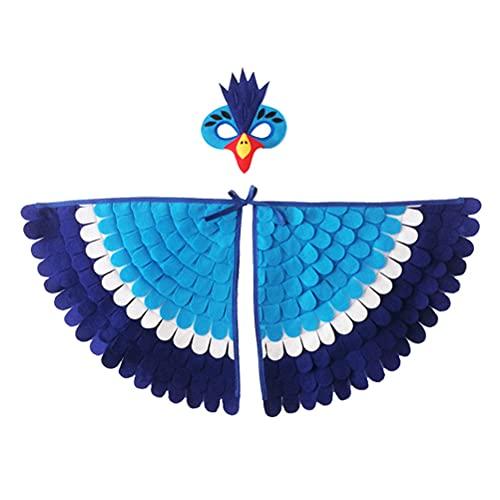 Hosuho Disfraz de animal de Halloween, alas de pájaros, cabo, carnaval, hada, disfraces de cosplay con cubierta de fieltro colorido para niños y niñas