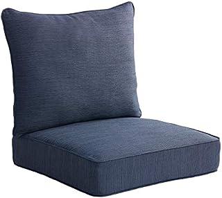 allen + roth 2-Piece Madera Linen Navy Deep Seat Patio Chair Cushion, Set of 2