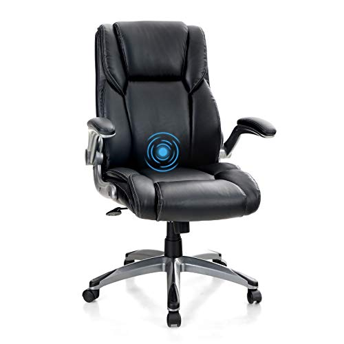 MAISON ARTS Executive Home Office Chair Desk Chair, Ergonomic Adjustable Massage Computer Task Chair with Rocking Function and Flip-up Arms, Black