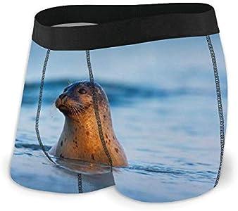 Animales Nadando en Las Olas del océano Ropa Interior para Hombres Ropa Interior de ángulo Plano Cinturón Boxer Transpirable con Cinturilla expuesta Talla L