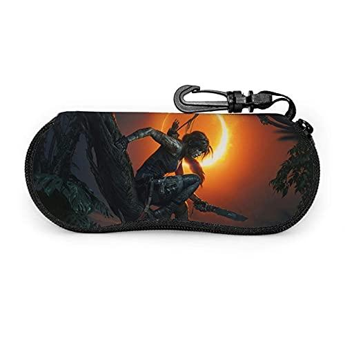 Tomb Raider - Funda para gafas de sol (neopreno, ultraligero, portátil, multifunción, con cremallera, para viajes, para gafas de sol