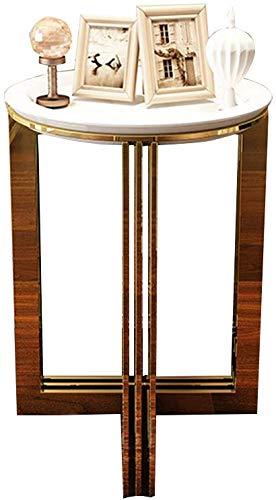 QTQZDD Staiess Steel Small Side Diverse salontafel woonkamer hoekbank enkele eenvoudige slaapkamer nachtkastje rond 5055,5 cm theetafel (wit) 1 1 x Polsband