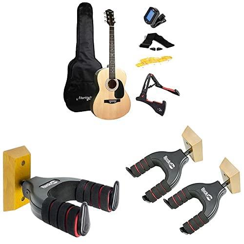 Martin Smith W-101-N-PK - Guitarra acústica con el soporte de guitarra + RockJam Soporte de guitarra vertical universal + TwinPack Soporte de guitarra universal montable en la pared