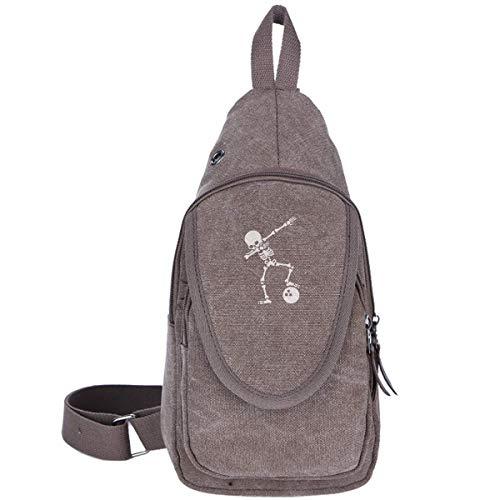 Dab Skeleton Dabbing Bowling Ball Canvas Chest Bag für Trekking Outdoor Sport Casual Rucksack für Jungen Mädchen Schwarz