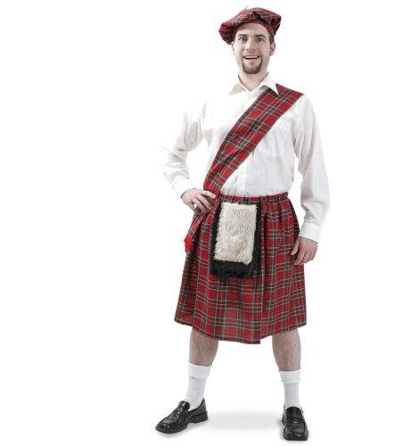 Fasching Karneval Kostüm Schotte Größe XL, 4 tlg. Rock mit Tasche, Mütze u. Schärpe