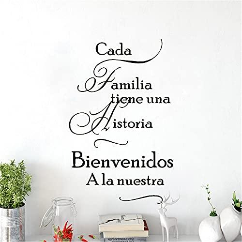 Zdklfm69 Adhesivos Pared Pegatinas de Pared Citas clásicas en español para la Sala de Estar, Familia, Impermeable, decoración del hogar en español, Vinilo 57x90cm