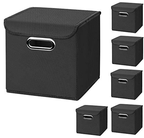 CM3 6 Stück Schwarz Faltbox 25 x 25 x 25 cm Aufbewahrungsbox faltbar, mit Deckel