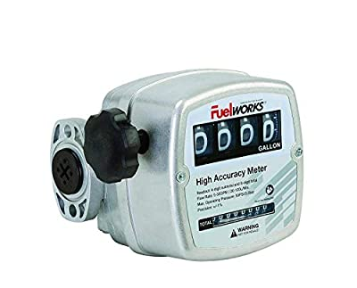 """FUELWORKS Oval Gear Inline Meter for Diesel Fuel with 3-26 GPM, 3/4"""" Inlet Size"""