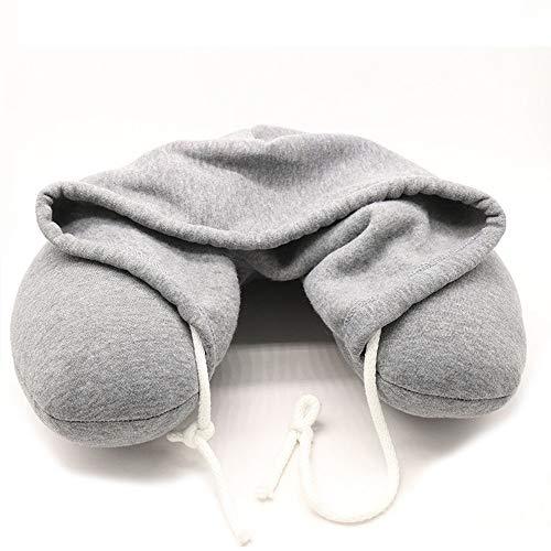 weichuang Almohada para el cuello, color gris sólido, de partículas, de algodón, suave, con capucha, en U, para casa, avión, coche, viajes, accesorios (color: gris)