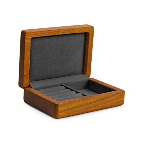 SENFEISM Caja de Reloj de joyería Exhibición de joyería Caja organizadora de Anillo de Madera Caja de exhibición de Pendientes Caja de exhibición de joyería de Viaje Escaparate de Almacenamiento