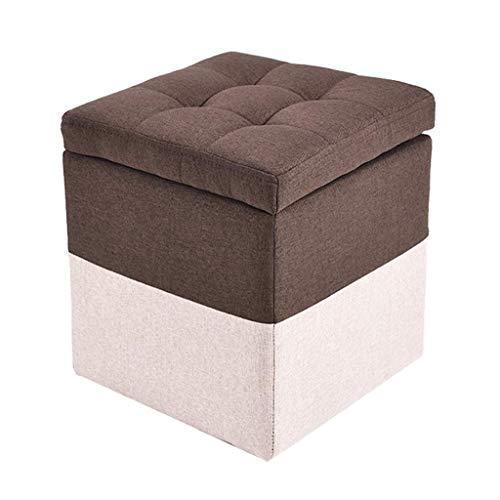 FBBSZSD Muebles Creativo Taburete de Almacenamiento de Tela de Costura marrón Taburete de Madera práctico Puf Reposapiés tapizado Reposapiés Altamente elástico Relleno de Esponja Asiento o