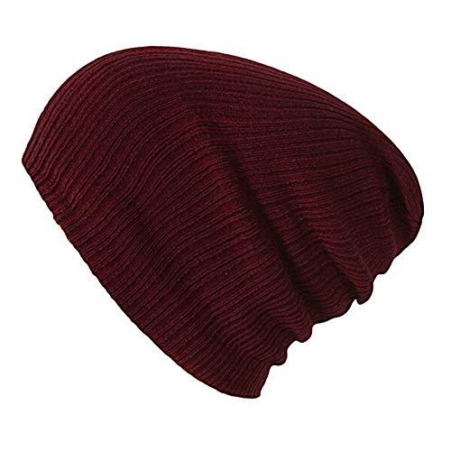 WAZHX Sombrero De Punto Suave para Mujer, Gorra De Algodón para Mujer, GorrosDe Algodón para Niña, Sombreros Lisos DeInvierno, Gorro Sólido para Mujer, Gorros De Otoño, Rojo Vino
